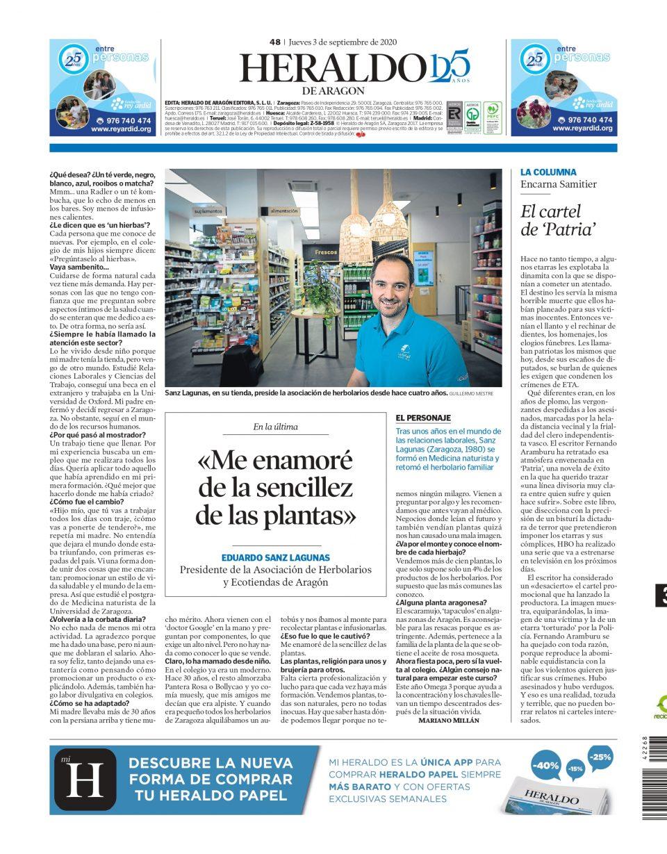 Contraportada Heraldo de Aragón | Eduardo Sanz: