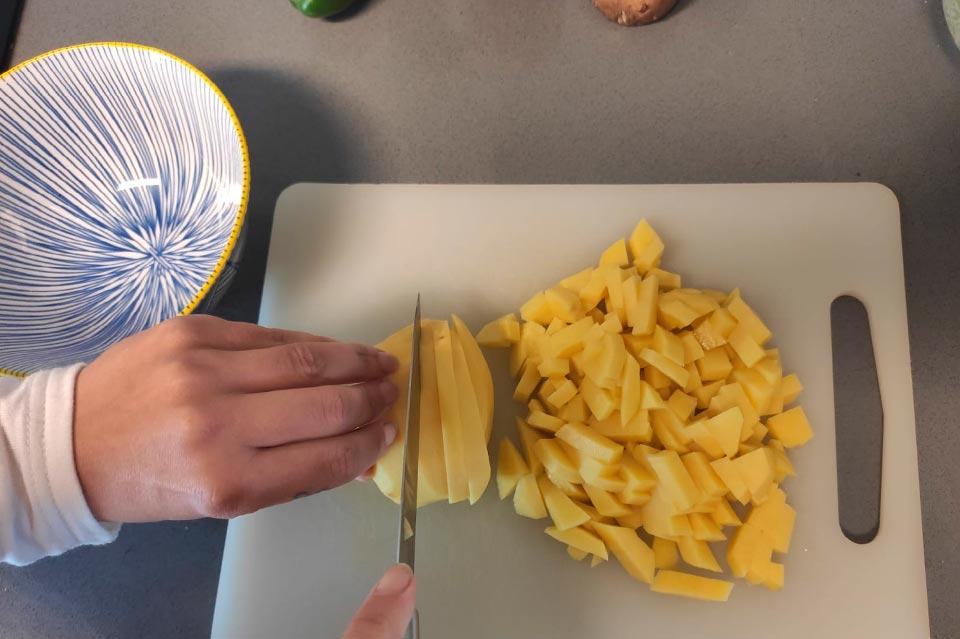 patatas para el pastel de verduras