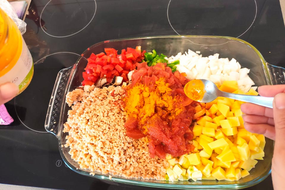 pastel de verduras con especias
